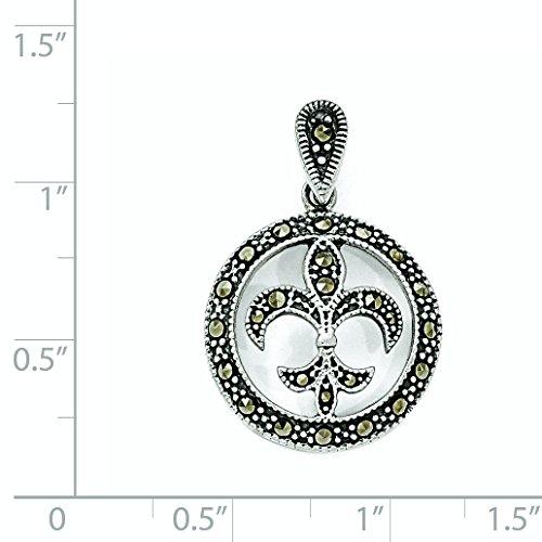 (Sterling Silver Marcasite Fleur De Lis Pendant)