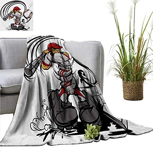 Night Player Light Nfl - AndyTours Fuzzy Blanket,Teen Room,Baseball Cartoon Style Player Hitting The Ball Boys Kids Caricature Print,Grey Red White,Luxury Flannel Throw Blankets for Bed(Lightweight,Super Soft) 70