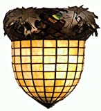 Meyda Custom Lighting 51852 Greenbrier Oak 1-Light Wall Sconce - Antique Copper Finish with Bark Brown and Amber Stained Art Glass