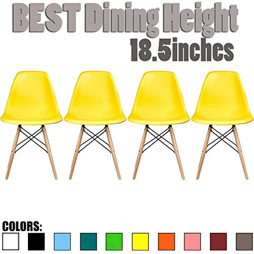 2xhome Set of 4 Yellow Mid Country Modern Molded Shell Designer Assemble Plastic Chair Side No Arms Wheels Armless Chairs Natural Wood Wooden Eiffel for Dining Room Bedroom Kitchen Accent Office DSW (Natural Chair Wood Room Dining)
