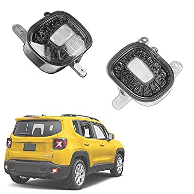 GTINTHEBOX Smoked Lens LED Rear Bumper Reflectors Fog Tail Lamps with White Backup Reverse Lights Update Kit for Jeep Renegade 2015 2016 2020 2020 2020: Automotive [5Bkhe0809010]