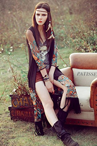 Cardigan damen lang sommer, Sondereu Cover Up Bluse mit Blumenmuster Stickerei Chiffon Troddel Chiffon Kimono Top