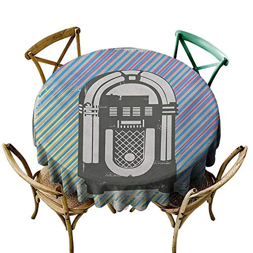 Jbgzzm Polyester Tablecloth Jukebox Radio Party Dark Grey Vintage Music Box with Abstract Grunge Colorful Stripes Image and Durable D47 ()