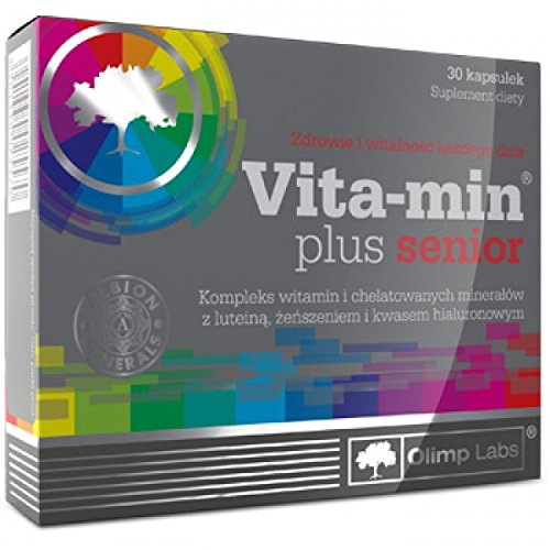 OLIMP VITA MIN PLUS SENIOR - 30 capsules - is a vitamin and mineral supplement enriched with lutein, hyaluronic acid and Korean ginseng extracs. VITALITY EVERY DAY by Olimp Labs