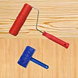 SYROVIA™ 2 Pcs 3.9'' Graining Painting Tool with Handle + Rubber 7'' Empaistic Wood Pattern Paint Roller