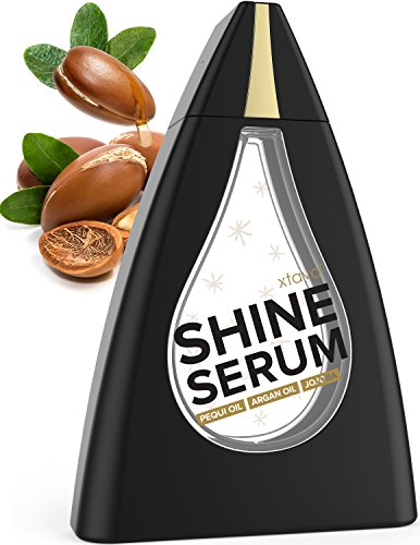 Xtava Shine Serum Hair Treatment for Dry Damaged Hair - 4 oz Anti Frizz Heat Protectant Hair Smoothing Serum with Natural Argan Oil for Straight to Curly Hair - Silky Shine Hair Oil with Vitamin A & E