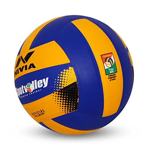 Nivia Vb 492 leather Spot Volleyball, Size 4,  Yellow and Blue