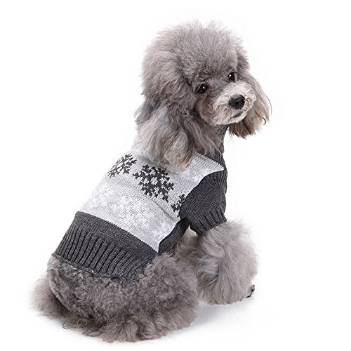 (ANIAC Dog Pet Cute Cartoon Warm Winter Sweater Christmas Snowflakes Costume (M, Grey))