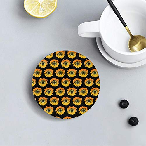 Happy Sunflower Repeat Novel Diatomite Drink Coasters Environmental Health Absorbent Coaster Prevent Furniture From Dirty and Scratched Suitable for Kinds Of Cups and Mug]()