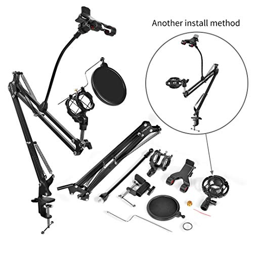 Adjusted Heavy Duty Microphone Suspension Boom Scissor Arm Stand Desktop Mic Stand with Mic Pop Filter and Universal Cell Phone Holder for Radio Broadcasting and Recording … (microphone boom arm)