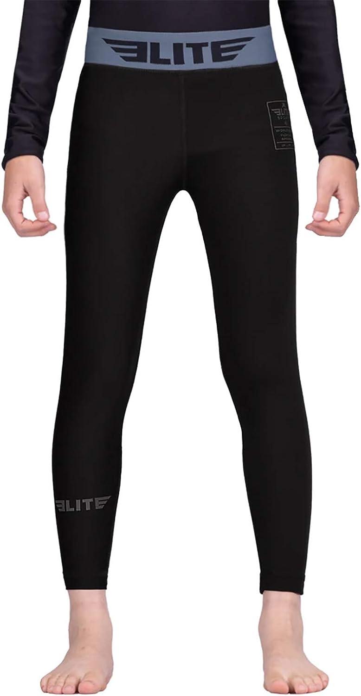 Elite Sports Kids MMA BJJ Athletic Spats Leggings Tights, Kids Jiu Jitsu Compression Base Layer Training Workout Pants