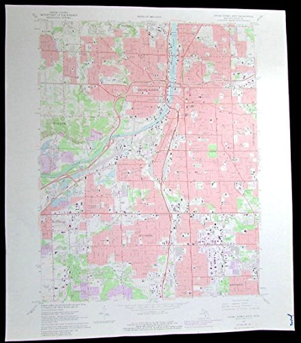 Grand Rapids West Kentwood Wyoming Michigan vintage 1982 old USGS Topo chart