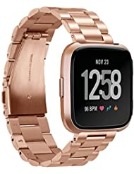 for Fitbit Versa Bands Rose Gold Stainless Steel Metal Bracelet Replacement Wristband Accessories Strap
