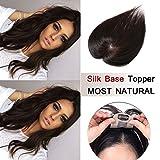 100% Density Top Hair Pieces Silk Base Crown Topper Human Hair Clip in Hair Toppers Top Hairpieces for Women with Thinning Hair Gray Hair/Hair Loss #02 Dark Brown 16 inches 30g