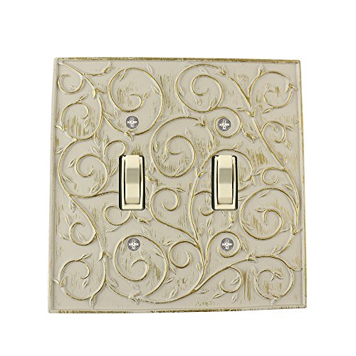 Meriville French Scroll 2 Toggle Wallplate, Double Switch Electrical Cover Plate, Ivory