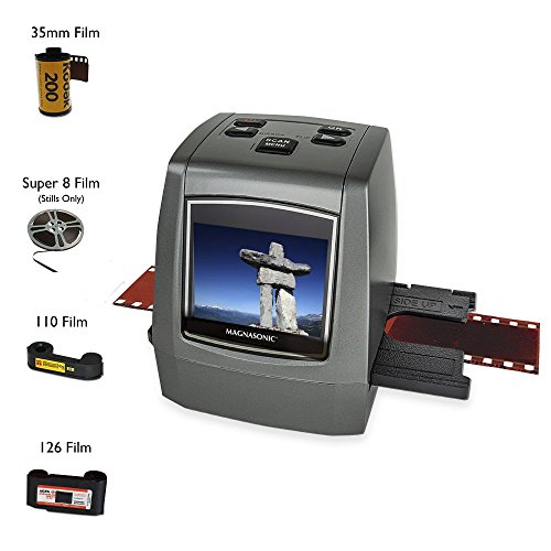 Magnasonic All-In-One High Resolution 22MP Film Scanner, Converts 126KPK/135/110/Super 8 Films, Slides, Negatives into Digital Photos, Vibrant 2.4'' LCD Screen, Impressive 128MB Built-In Memory by Magnasonic