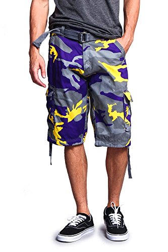 G-Style USA Men's Camo Ripstop Belted Cargo Shorts 9AP30 - Purple - 34 - S1B