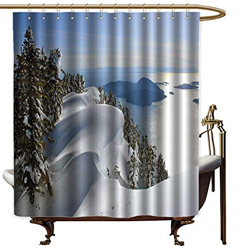 LewisColeridge Shower Curtain Winter,Pacific Ocean Meets The Mountains Vancouver British Columbia Canada Wilderness Scenery,Metal Rust Proof Grommets Bathroom Curtain 47