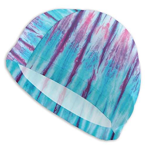 VANMASS Boys Girls Women Men Swim Cap, Vertical Gradient Tie Dye Figures Hippie Swimming Caps Great Elasticity Ear Protection Breathable Fit Both Short and Long Hair (Male Swimming Figure)