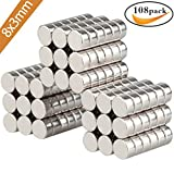 Aitsite Extra Strong Magnets Pack(108 Pack), 8mm X 3mm, Grade N45 Magnetic Circular Disk for Fridge, Pin Board, White board or Picture magnet.