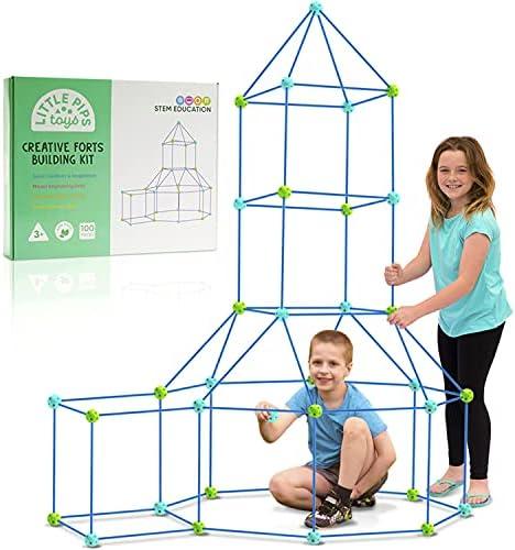100 Piece Creative Fort Building Set for Kids...
