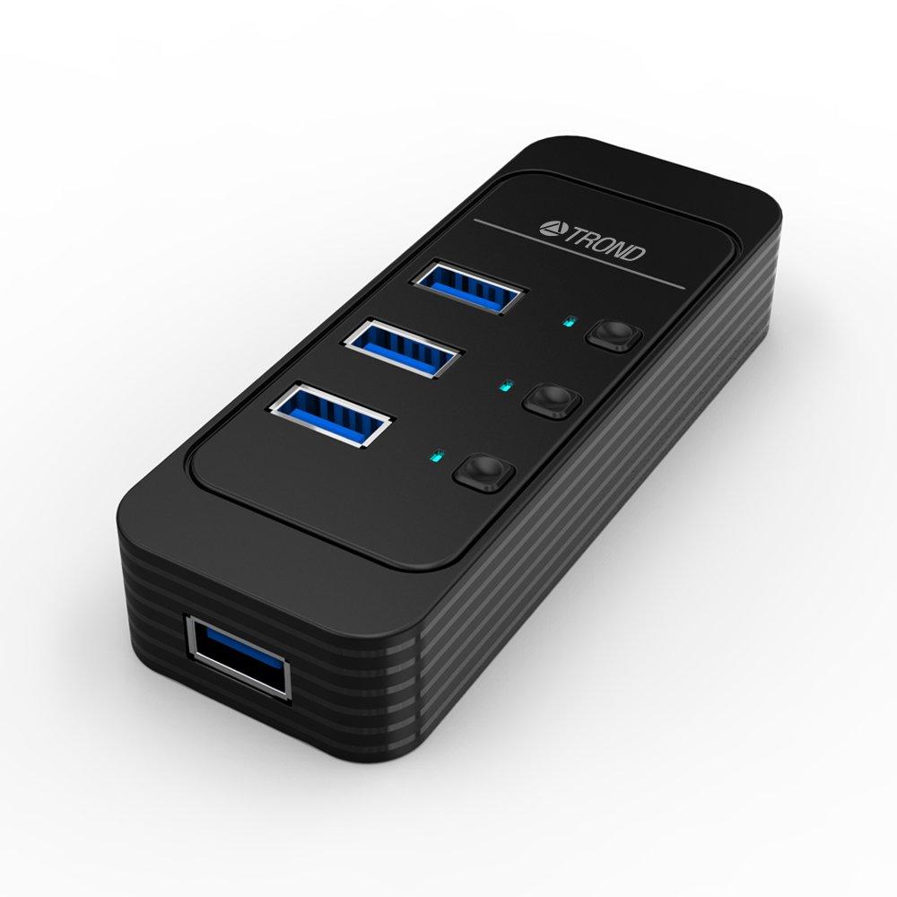 TROND D4 4-Port USB 3.0 Hub (Individual Power Switches, LED Indicators, 3.9 ft Detachable USB Cable)