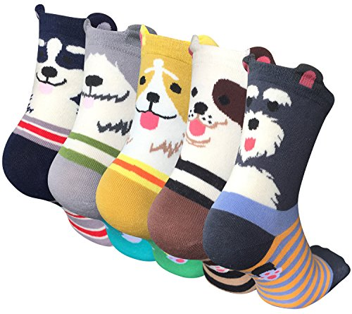 Pack of 5 Sweet Animal Design Women's Casual Comfortable Cotton Crew Socks,  Style 1, One Size (5-8.5) ()