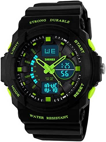 Fanmis Boys Girls Multi-function Cool S-shock Sports Watch LED Analog Digital Waterproof Alarm - Green