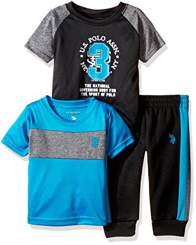 U.S. Polo Assn. Boys' Space Dyed Logo T-Shirt, Screen Print Logo T-Shirt and Fleece Jog Pant, Turquoise, 12M
