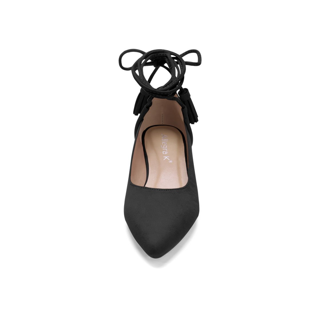Allegra K Womens Pointed Toe Tassel Lace Tie Up Flats Flat Shoes