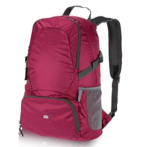 Batsomer Foldable Backpack 30L Waterproof Bag Climbing Backpack Rucksack Cycling Outdoor Bag Women Men Travel Hiking Shoulder Bag Rose by Batsomer
