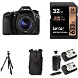 Canon EOS 80D Digital SLR Kit with EF-S 18-55mm f/3.5-5.6 IS STM Lens, 32GB Memory Card, Extra Battery, Bag and Manfrotto Tripod