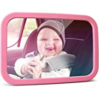 MYSBIKER Baby Backseat Mirror,360°Rotation and Shatterproof,Rear View Baby Kids Car Mirror with Dual Adjustable Straps (Pink)