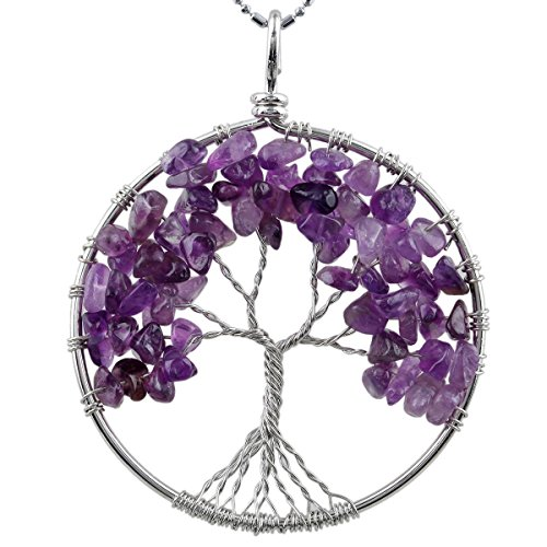 (SUNYIK Amethyst Eternal Tree of Life Pendant Tumbled Stones Healing)