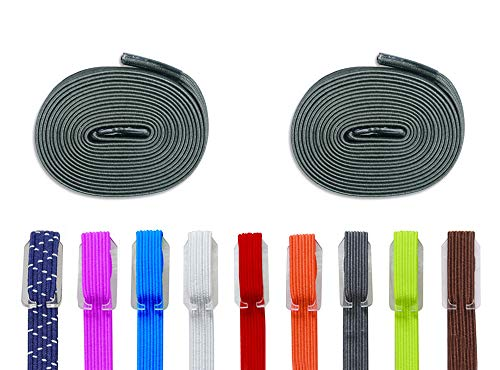 DB Elastic No Tie Shoe Laces, Replacement Shoelaces, Flat Elastic Shoe Laces for Running, Athletic, Mens, Womens, Kids Dark Green