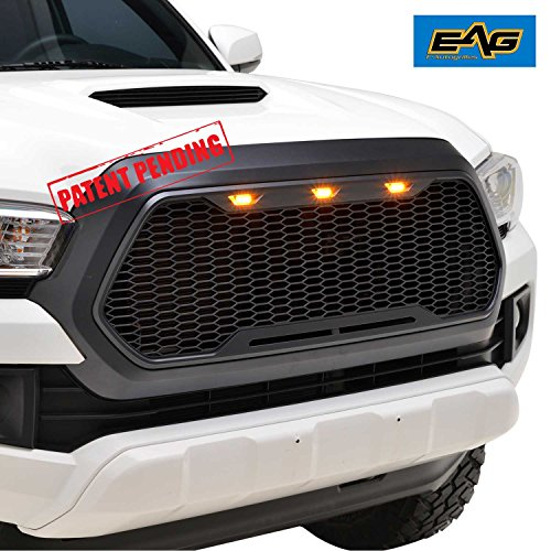 EAG 16-18 Toyota Tacoma Replacement ABS Upper Grille With Amber LED Lights - Matte Black -
