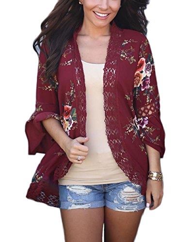 LUBERLIN Women's Floral Print Trumpet Sleeve Kimono Cardigan Lace Patchwork Cover Ups Blouse Tops (Wine Red, XL) by LUBERLIN