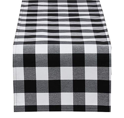 Fennco Styles Buffalo Plaid Collection Classic Checked Cotton Blend Table Runner 4 Colors - Black 16 x72 Inch Table Runner for Banquets, Christmas, Special Events and Home Décor