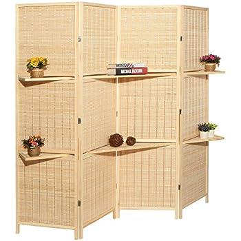 Amazoncom MyGift Deluxe Woven Beige Bamboo 4 Panel Folding Room