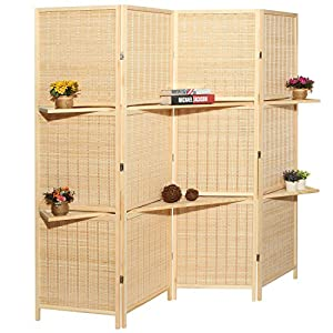 MyGift Deluxe Woven Beige Bamboo 4 Panel Folding Room Divider Screen w/Removable Storage Shelves