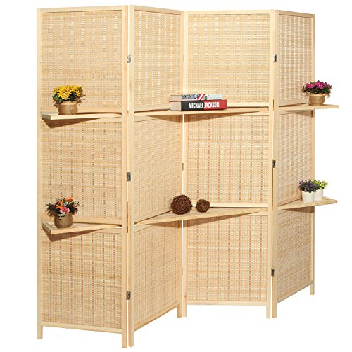 Deluxe Woven Beige Bamboo 4 Panel Folding Room Divider Screen w/ Removable Storage Shelves - Removable Room