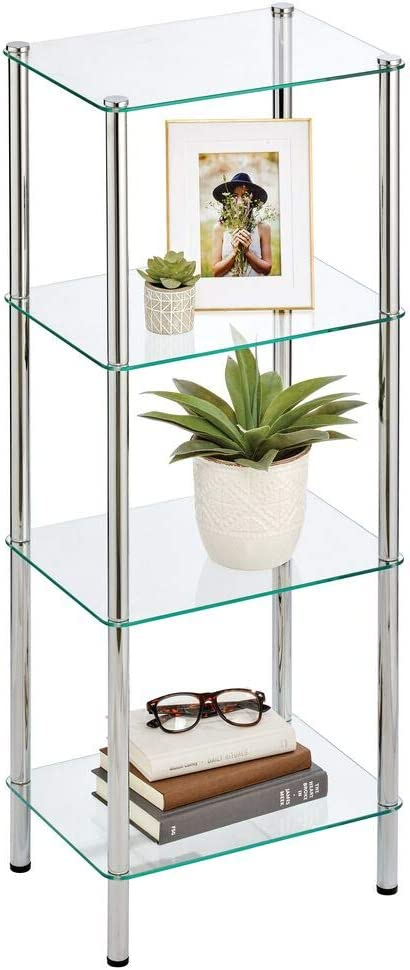 mDesign Household Floor Storage Rectangular Tower, 4 Tier Open Glass Shelves - Compact Shelving Display Unit - Multi-Use Home Organizer for Bath, Office, Bedroom, Living Room - Chrome/Clear