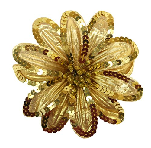 Sequin Flowers Brooch (WD2U Girl XL Poinsettia Flower Christmas Hair Bows Alligator Clip Brooch Pin Metallic Gold 1067)