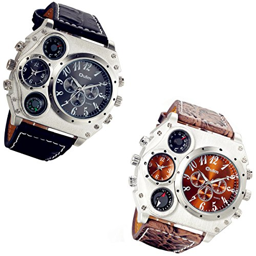 Men's Oversize Military Steampunk Dual Time Zone Four Dial Big Face Watches Dark Brown and Black Leather Band Compass Thermometer Decorative Dial Cool Wrist Watch - 2 Pack