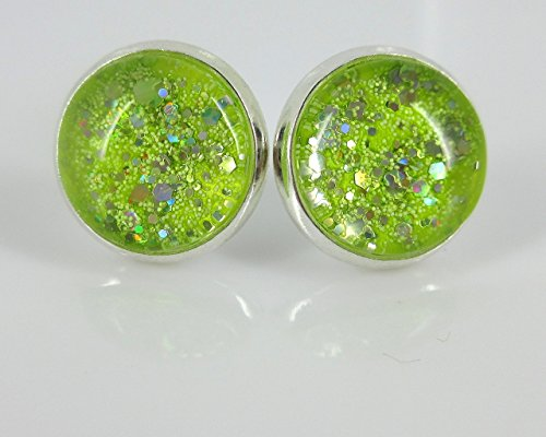 Silver-tone Neon Yellow Green Glitter Glass Stud Earrings Hand-painted 12mm ()