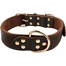 Beirui Soft Leather Dog Collar - Genuine Latigo Leather Made - Best Choice for Daily Walking or Sports Training - 18-25 Brown