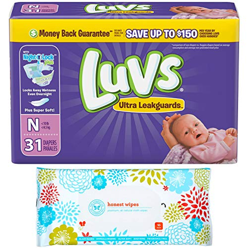 - Luvs Newborn Diapers (Size N - Less Than 10 lbs) (31ct) Bundle with Honest Baby Wipes (10ct) Travel Pack
