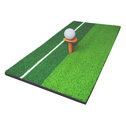 ALEKO GHM2C12X23 Double Color Golf Mini Hitting Mat with Rubber Tee and Golf Ball Golf Hitting Practice Mat