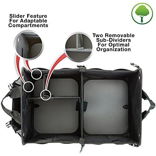 TrunkCratePro Premium Multi Compartments Collapsible Portable Trunk Organizer for auto, SUV, Truck, Minivan