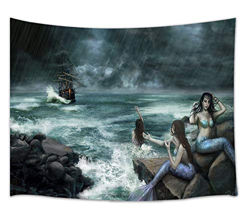 DYNH Nautical Tapestry Kraken Theme, Mermaids on Seashore with Pirate Ships in Ocean, Wall Art Hanging Blankets Home Decor for Bedroom Living Room Dorm, Beach Blanket Panels 60X40 Inches (And Ship Mermaid)